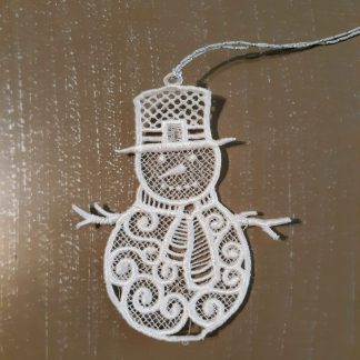 White Snowman Lace Ornament
