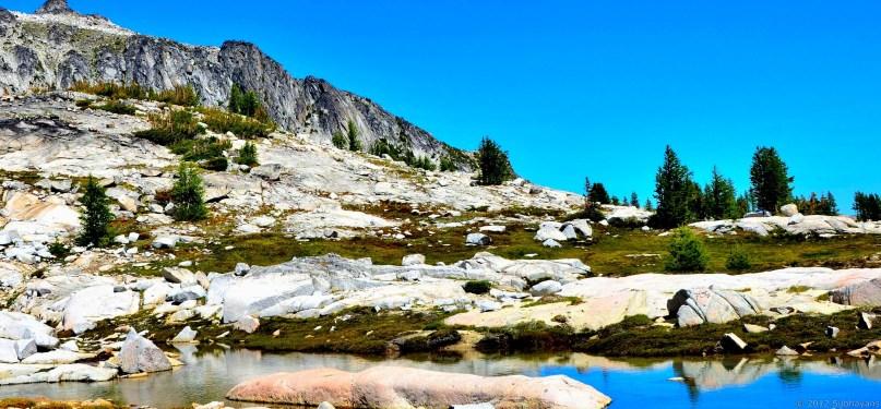 Granite, green and blue stream