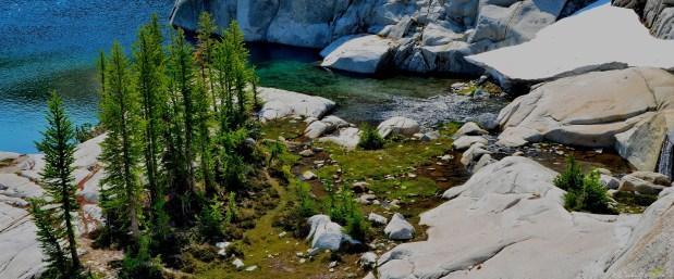 The place where the waterfall meets Leprechaun Lake