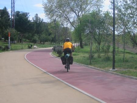 Jorge en el carril bici de Madrid