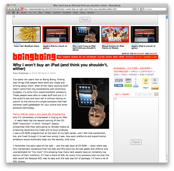 "A screenshot of the homepage of BoingBoing.com showing an article titled ""Why I Won't Buy an iPad (And Think You Shouldn't, Either)"" with multiple ads on the page using Adobe Flash."