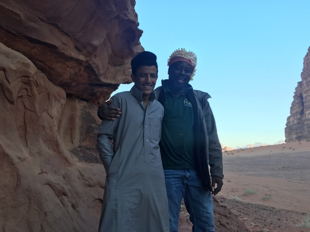 Travel with Kids - Bertrand and Hussein, our jeep driver and guide in Wadi Rum