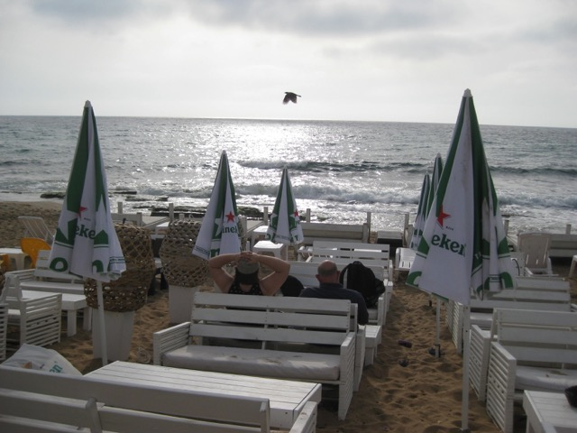 Travel with Kids - Dining on the beach in Nahariyya in Northern Israel