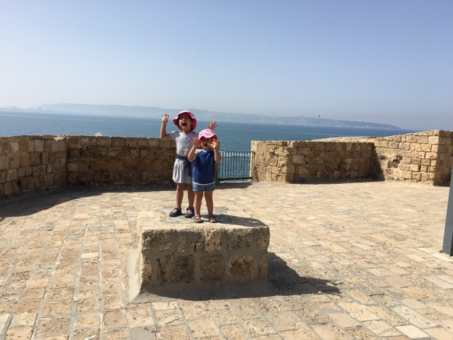 Travel with Kids - kids roaring in Akko in Northern Israel