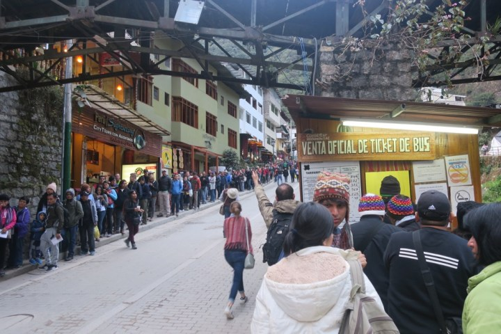 Waiting in line for bus at Aguas Calientes, Peru