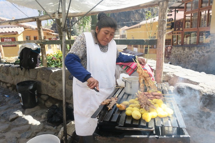 Street food in Ollantaytambo, Sacred Valley, Peru