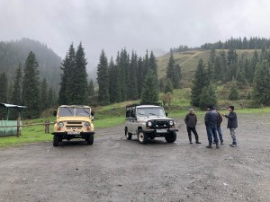 Soviet Era Jeeps to take us to Kolsai Lake