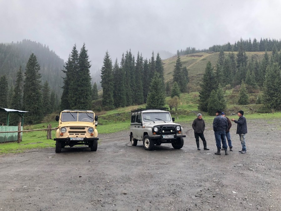 Soviet Era Jeeps to take us to Kolsai Lake
