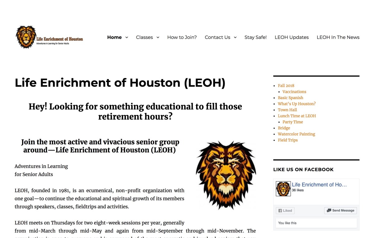 Life Enrichment of Houston website