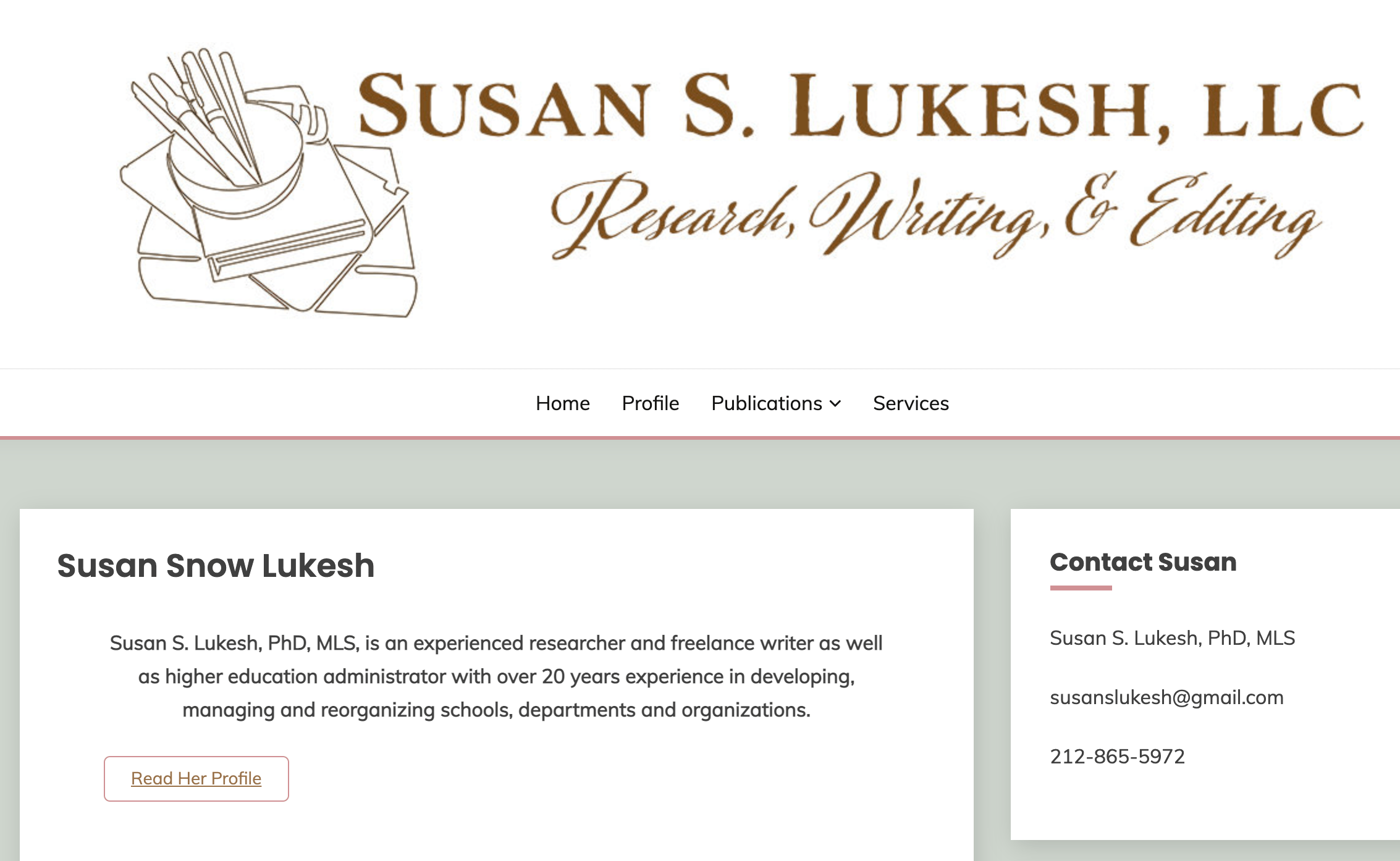 Screenshot of website for Susan Snow Lukesh, author and archeologist
