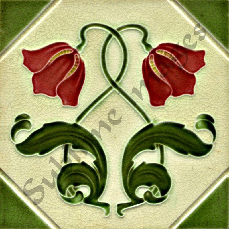 an021 art nouveau tiles reproduction ceramic or glass tiles