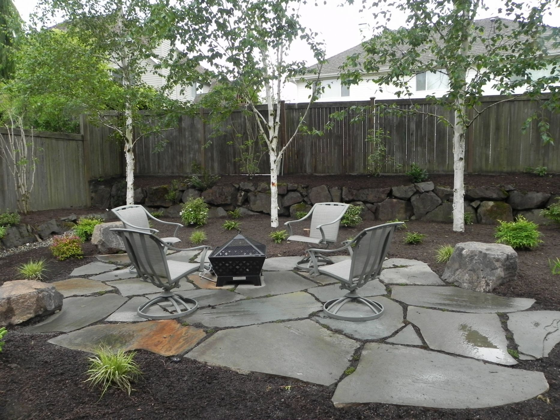 Snohomish backyard firepit | Sublime Garden Design ... on Garden Ideas With Fire Pit id=96866