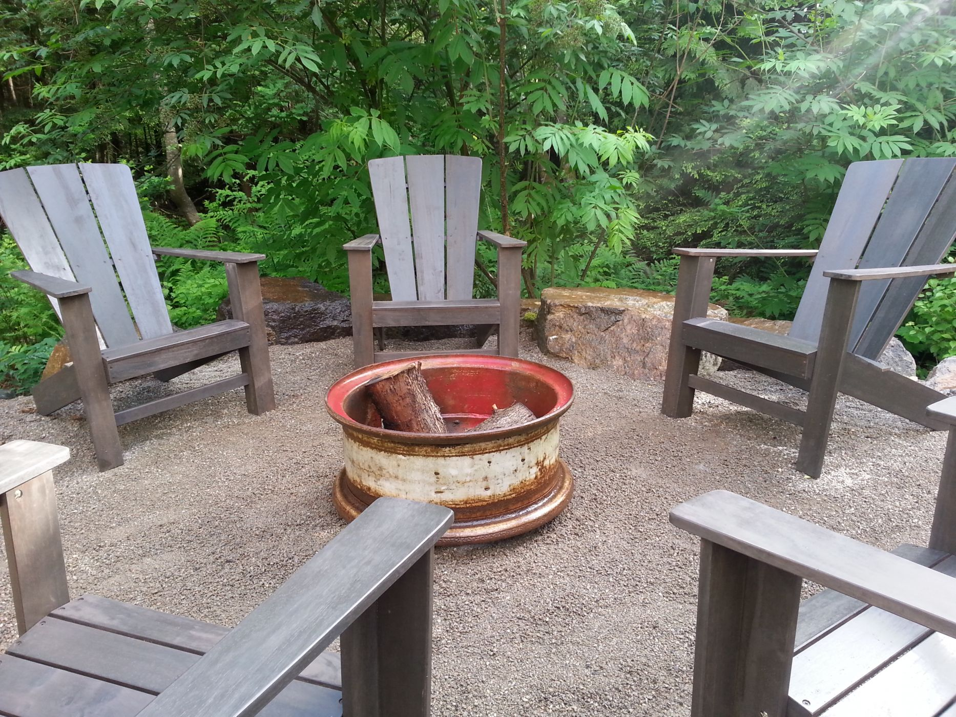 Rustic fire pit- Snohomish, WA - Sublime Garden Design ... on Garden Ideas With Fire Pit id=84109