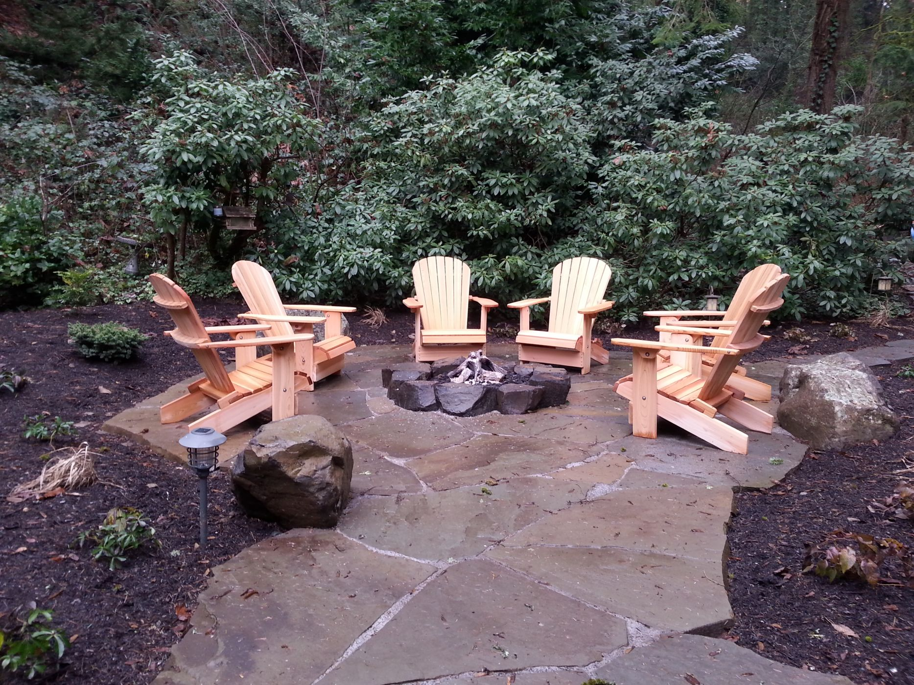 Rustic gas fire pit - Mercer Island, WA- Sublime Garden ... on Garden Ideas With Fire Pit id=78771