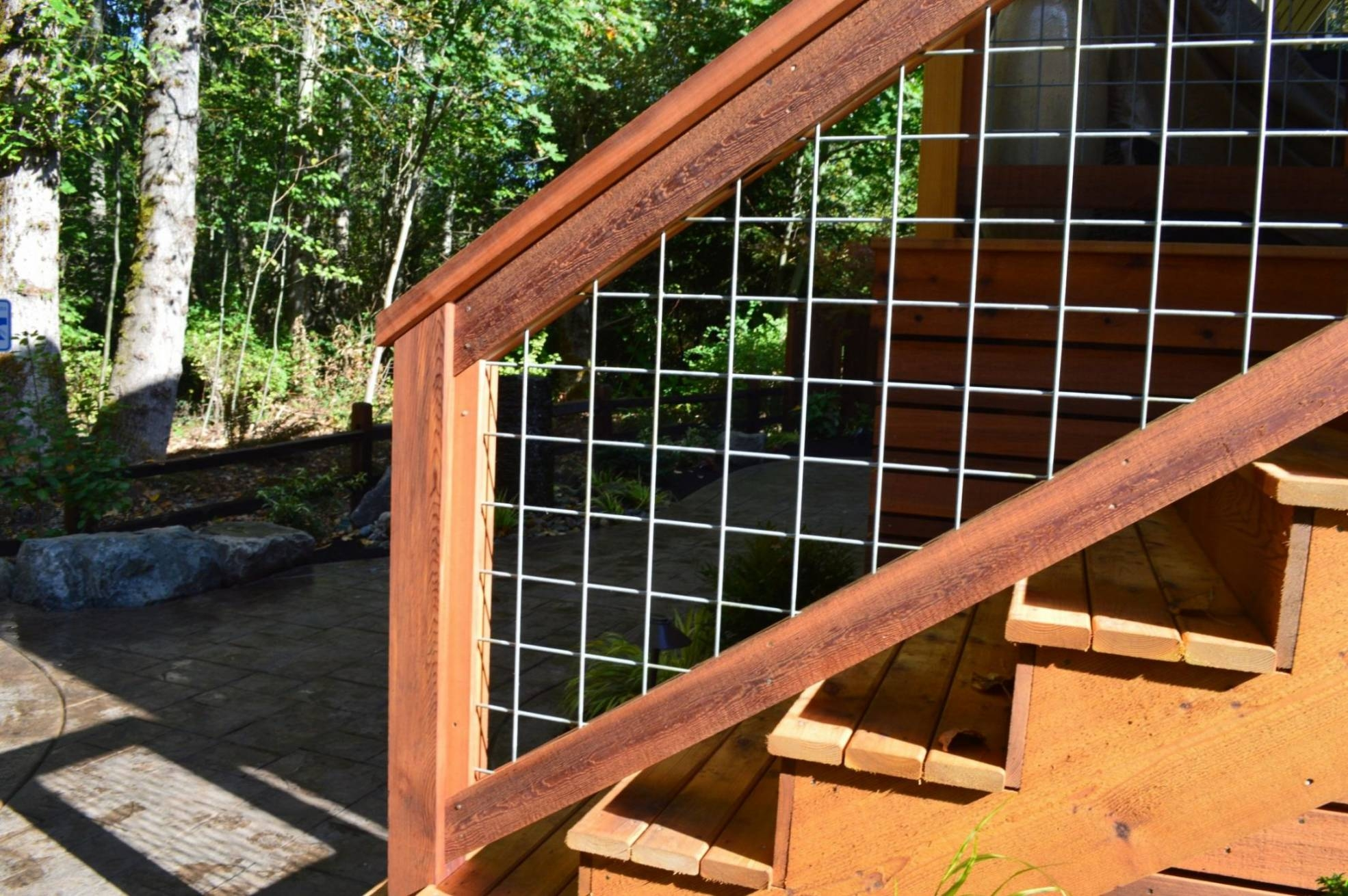 Bothell – Welded Wire Mesh Deck Railing — Sublime Garden Design   Hog Wire Stair Railing   Deck Stainless   Wire Lattice Deck   Wire Panel   Privacy Panel Cable Railing   Modern Farmhouse