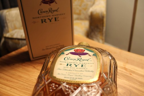Northern Harvest Rye Whiskey under the light.