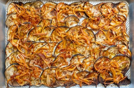 Overhead shot of burning hot oven roasted eggplant