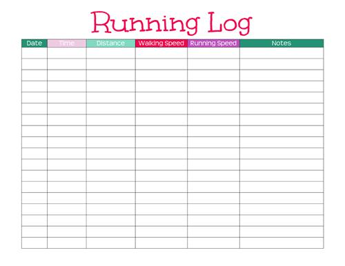 printable running log template