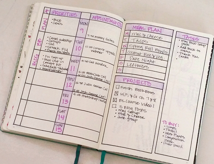 Image result for bullet journal weekly