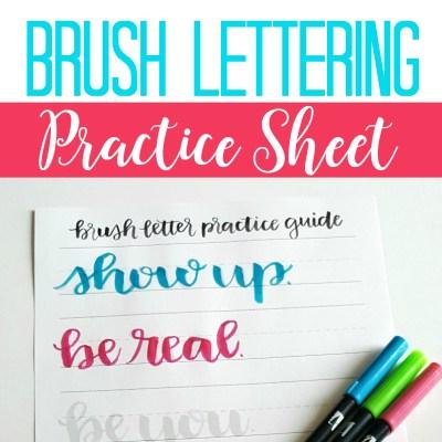 Free Brush Lettering Practice Sheet