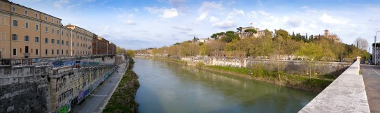 The Ripa Grande, River Tiber and Mount Aventine from the Ponte Sublicio, Rome. Photograph by David Hill, taken 11 April 2015, 15.42 GMT Turner's sketch TB CLXXXI 41a was taken from the left bank of the Tiber, for the campanile of the Palazzo del Senatore on the Capitoline Hill can only be seen from there. When I visited the view of the Capitoline was obscured by spring leaves. In Turner's day there was no bridge. The present Ponte Sublicio was built in 1918.