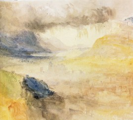 J.M.W.Turner Chambery, Savoy, 1836 Watercolour on paper, 10 x 11ins, 254 x 279 mm Private Collection, sold Christie's, London, 2 April 1996, lot 63. Showing the view from the slopes to the south of the city, looking over the castle and church towards the distant Lac de Bourget. Photograph courtesy of Christie's Ltd.