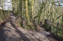 """Church Brow, Kirkby Lonsdale; the path to the spring Photograph by David Hill, taken 26 March 2016, 11.10 GMT """"…a little bye footpath on the right descending steeply through the woods to a spring among the rocks of the shore.."""""""