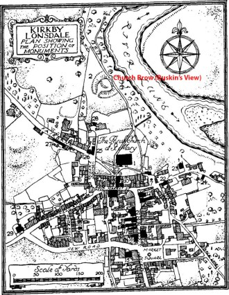 Kirkby Lonsdale: Plan showing the position of monuments, 1936 From An Inventory of the Historical Monuments in Westmorland. Originally published by His Majesty's Stationery Office, London, 1936 Source of image: http://www.british-history.ac.uk/rchme/westm/pp133-140 The bye-footpath leading to the spring can be seen at the northern end of Church Brow. The path still exists but I could not locate the spring when I visited in March 2016.