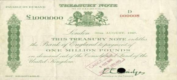£1m treasury bond from the Bank of England.