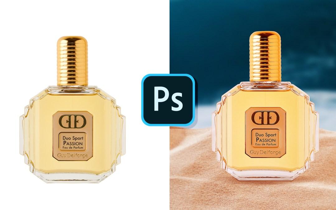 🎓Créer un composite photoshop basé sur une photo de parfum à la plage 🌴🌊