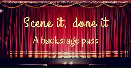 hotel scene - theatre curtains which say scene it, done it a backstage pass