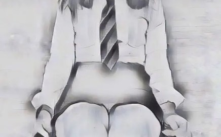 Picture of naughty schoolgirl sitting waiting on chair