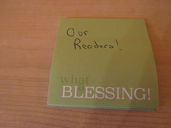 Post-It Notes to remind you of your blessings,