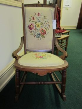 Walnut Victorian Rocking Chair with Original Needlepoint