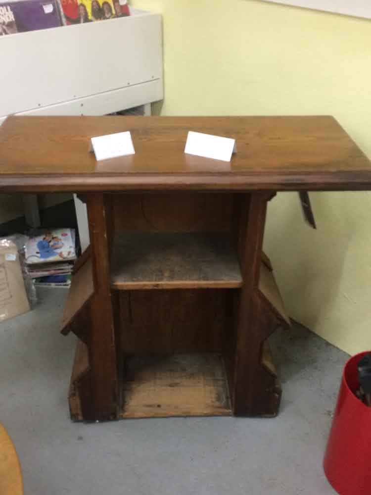 Suburban Antiquarian Oak and Walnut Credence Table - Side Altar with one interior shelf inside
