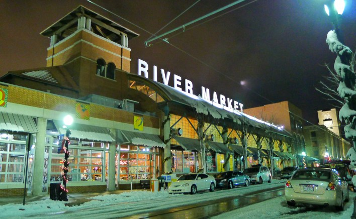 Little Rock's River Market on a winter's night.