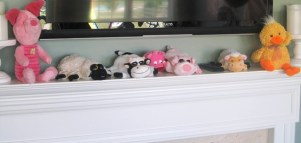 stash of stuffed farm animals to decorate the party room