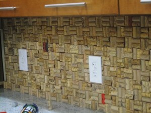 Wine Cork backsplash - close up
