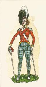 Highland officer in tartan trews.