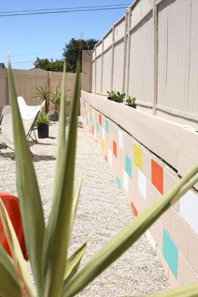 Painted Mosaic Cinderblock Wall! | Suburban Pop on Backyard Cinder Block Wall Ideas  id=14710