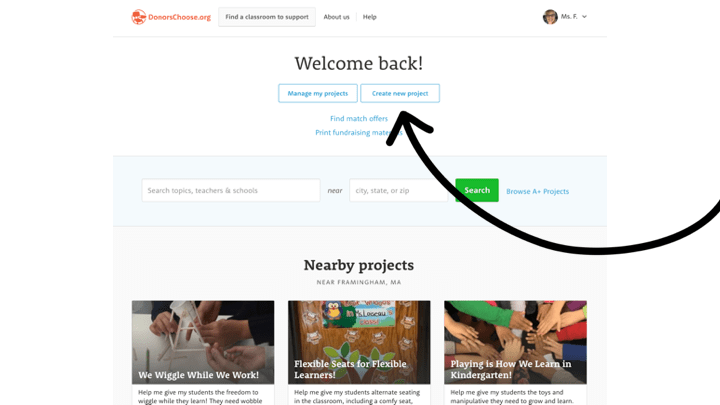Get started with funding your classroom grant by creating a new project.