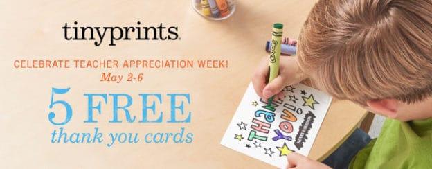 Tiny Prints Teacher Appreciation 5 free thank you cards