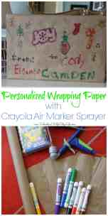 Personalized Wrapping Paper and Cards with Crayola Air Marker Sprayer