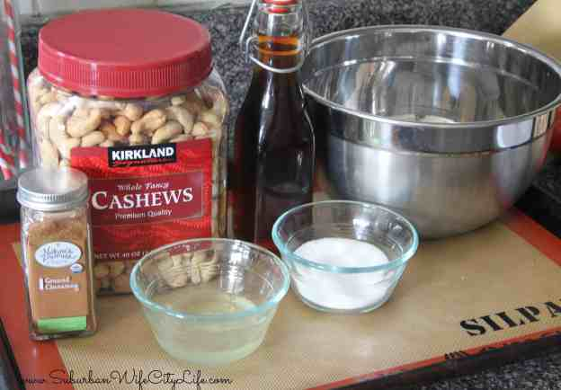 Supplies for Vanilla Cinnamon Sugar Cashews