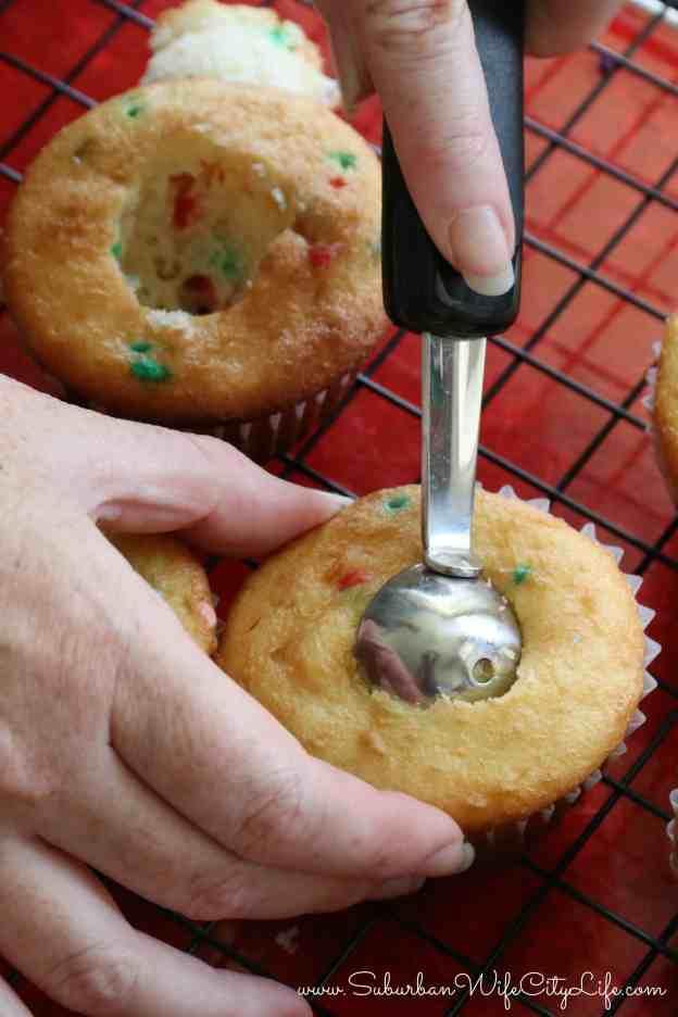Surprise Cupcakes use a melon baller to create a hole