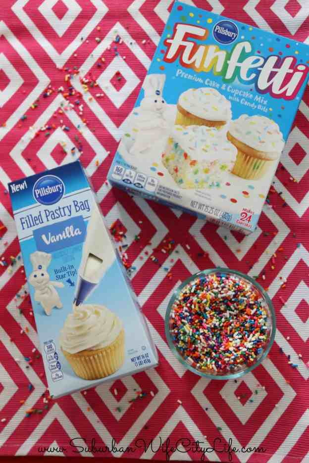 Surprise Cupcakes using Funfetti, Pillsbury Pastry Bag and Sprinkles