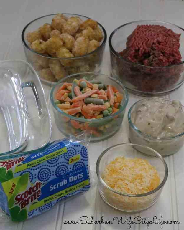 Tater tot Hot Dish ingredients