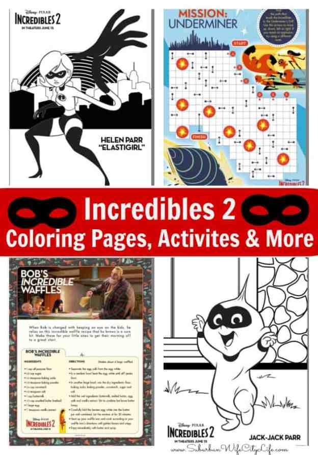 Incredibles 2 Coloring Pages, Activities & More #Incredibles2