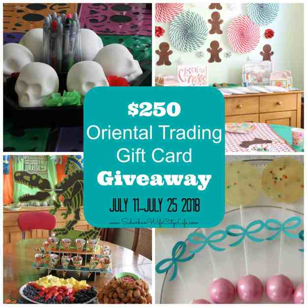 $250 Oriental Trading Gift Card Giveaway ends July 25, 2018