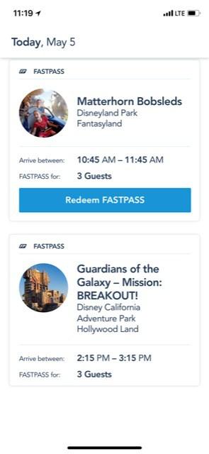 Disneyland Fastpass redeem
